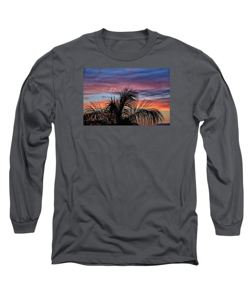 Long Sleeve T-Shirt featuring the photograph Palm Tree Sunrise by Nikki McInnes