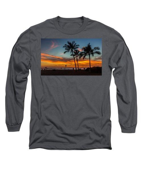 Poipu Beach Sunset - Kauai Hi Long Sleeve T-Shirt