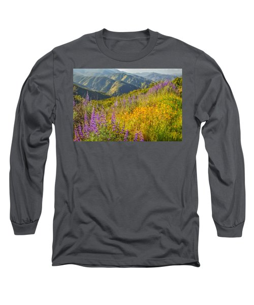 Poppies And Lupine Long Sleeve T-Shirt by Marc Crumpler
