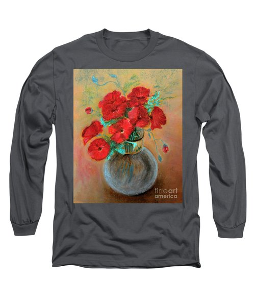 Poppies  Long Sleeve T-Shirt by Jasna Dragun