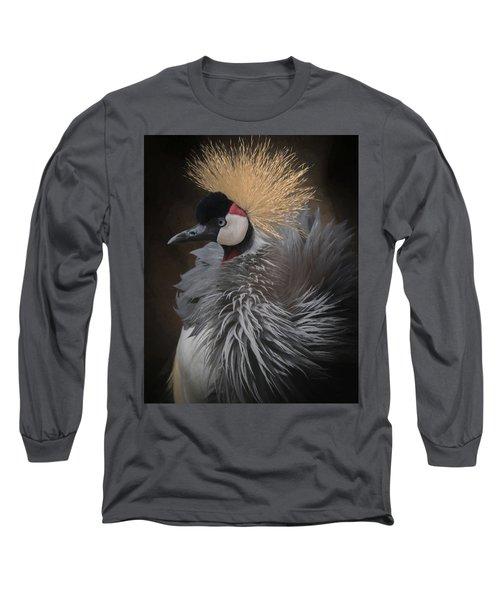Portrait Of A Crowned Crane Long Sleeve T-Shirt by Ernie Echols