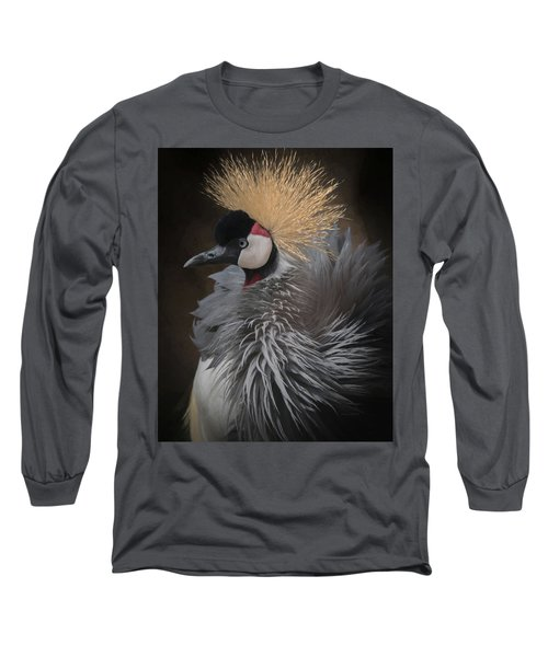 Portrait Of A Crowned Crane Long Sleeve T-Shirt