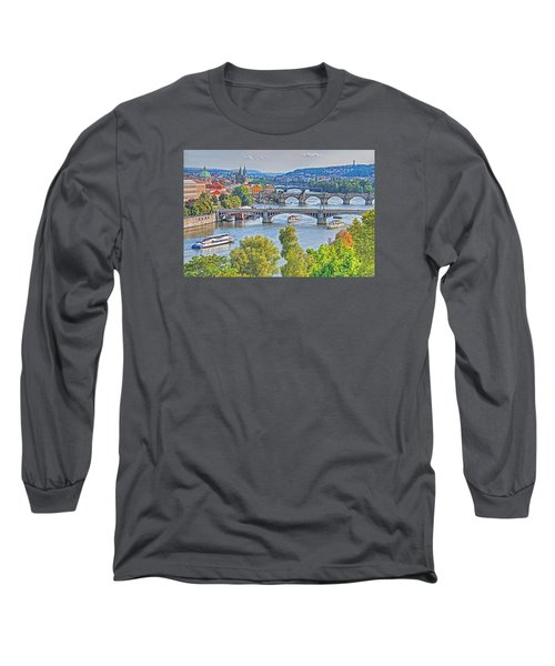 Long Sleeve T-Shirt featuring the photograph Prague Bridges by Dennis Cox WorldViews