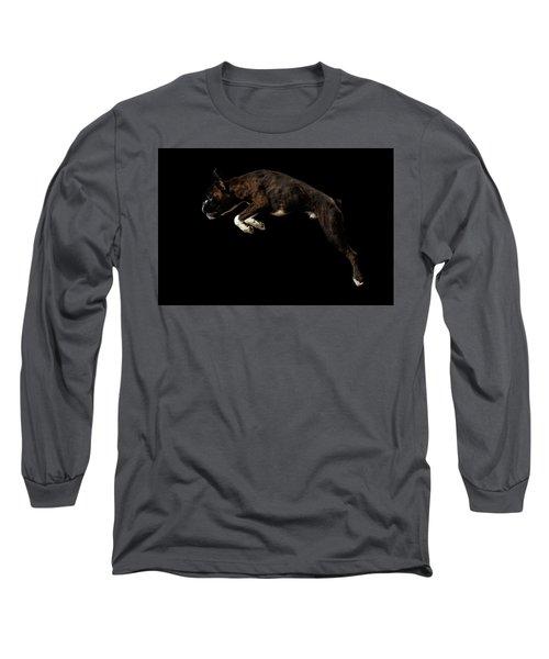 Purebred Boxer Dog Isolated On Black Background Long Sleeve T-Shirt