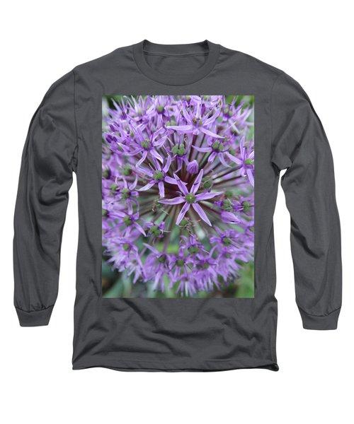Purple Allium Burst Long Sleeve T-Shirt by Rebecca Overton