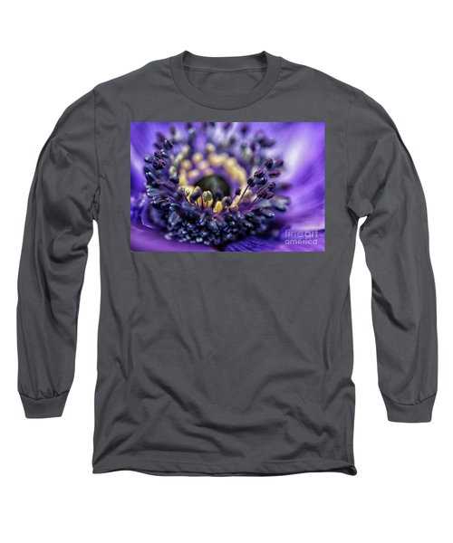 Purple Heart Of A Flower Long Sleeve T-Shirt by Patricia Hofmeester