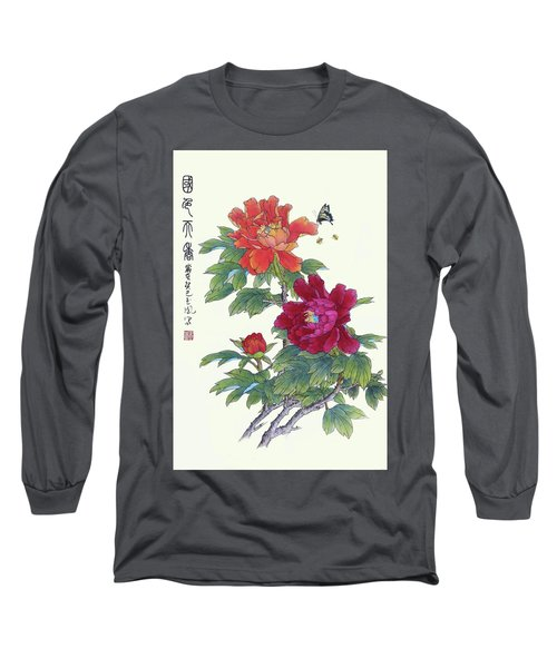 Red Peonies Long Sleeve T-Shirt by Yufeng Wang