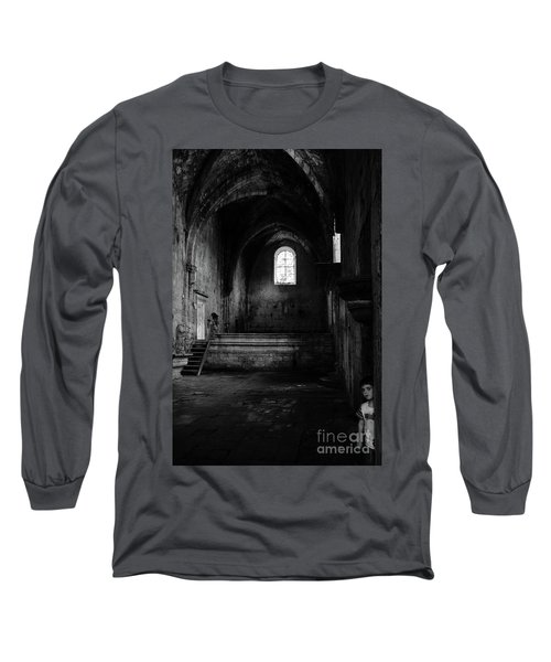 Long Sleeve T-Shirt featuring the photograph Rioseco Abandoned Abbey Nave Bw by RicardMN Photography