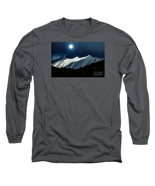 Rocky Mountain Glory In Moonlight Long Sleeve T-Shirt by Elaine Hunter