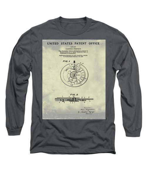 Rolex Watch Patent 1999 In Weathered Long Sleeve T-Shirt