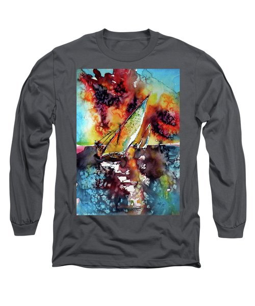 Sailboats At The Sunshine Long Sleeve T-Shirt by Kovacs Anna Brigitta