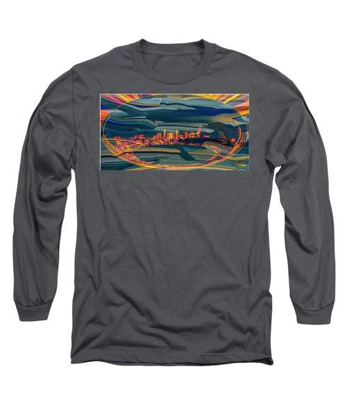Long Sleeve T-Shirt featuring the digital art Seattle Swirl by Dale Stillman