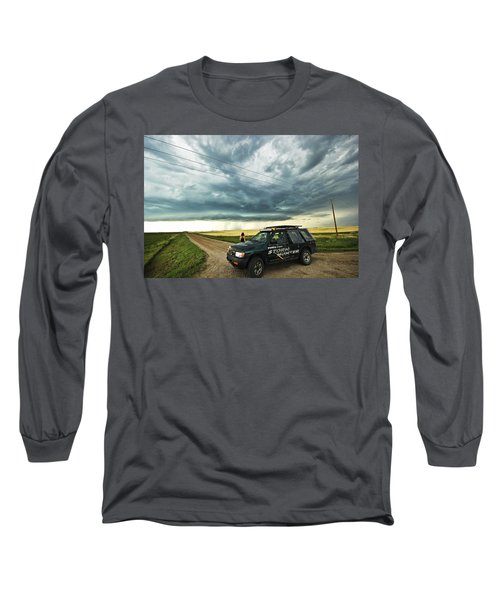 Long Sleeve T-Shirt featuring the photograph Shelf Cloud Near Vibank Sk. by Ryan Crouse