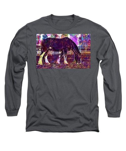 Long Sleeve T-Shirt featuring the digital art Shire Horse Horse Coupling  by PixBreak Art