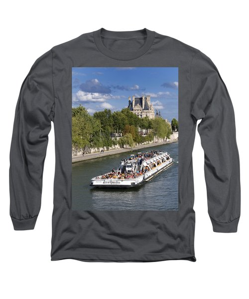 Sightseeing Boat On River Seine To Louvre Museum. Paris Long Sleeve T-Shirt