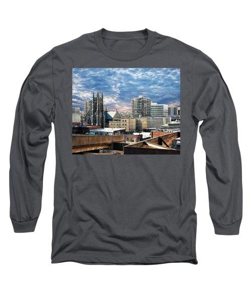 Stamford Cityscape Long Sleeve T-Shirt by Anthony Dezenzio