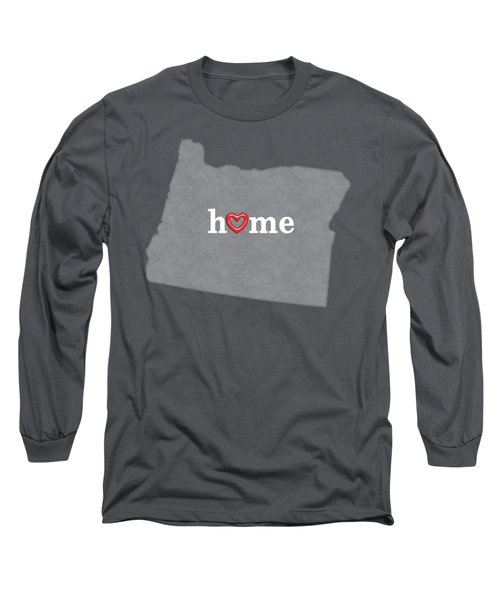 State Map Outline Oregon With Heart In Home Long Sleeve T-Shirt by Elaine Plesser