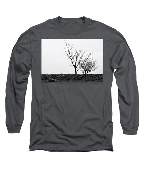 Long Sleeve T-Shirt featuring the photograph Stone Wall With Trees In Winter by Nancy De Flon