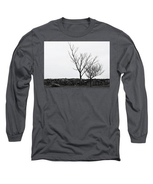 Stone Wall With Trees In Winter Long Sleeve T-Shirt by Nancy De Flon