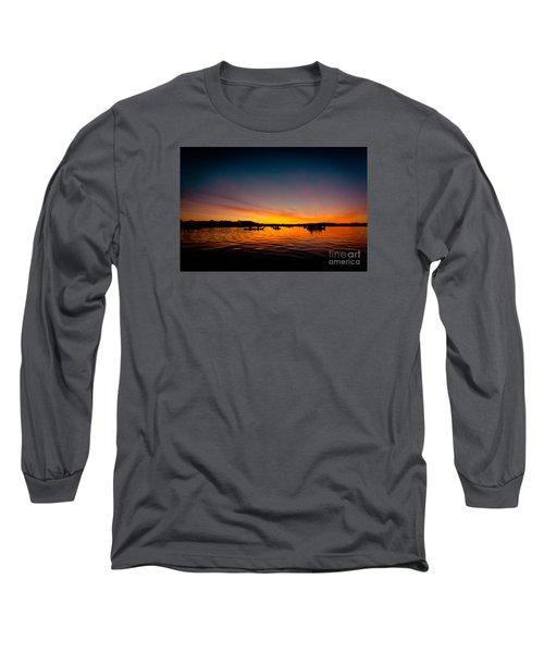 Sunrise Above Lake Water Summer Time Long Sleeve T-Shirt