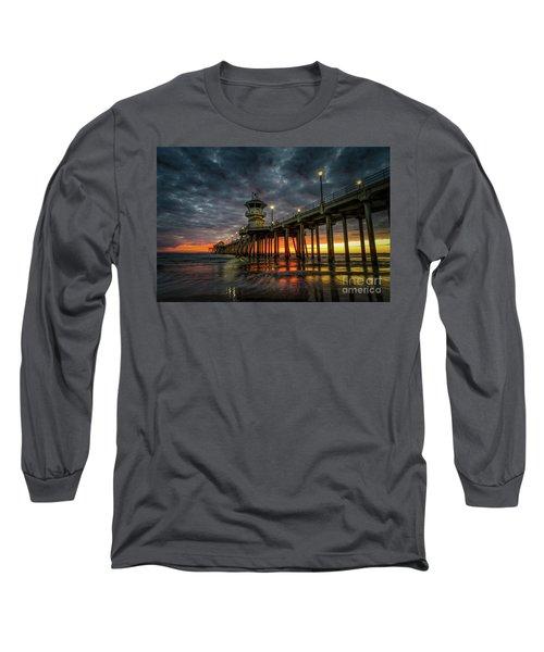Sunset Huntington Beach Pier  Long Sleeve T-Shirt