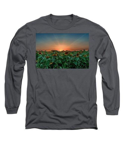 Sunset Over A Sunflowers Field Long Sleeve T-Shirt