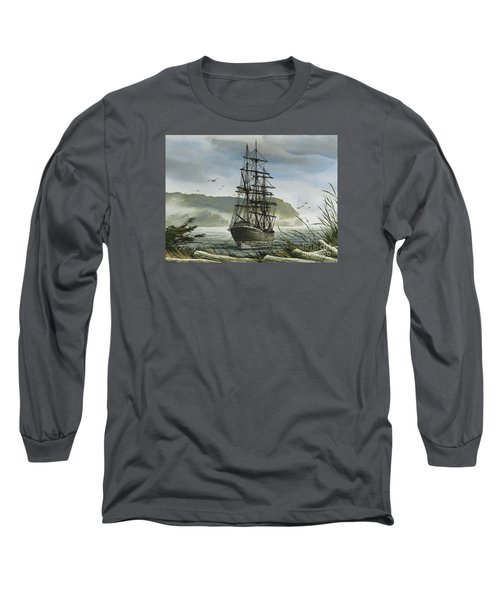 Long Sleeve T-Shirt featuring the painting Tall Ship Cove by James Williamson
