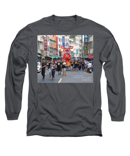 The Fire Lion Procession In Southern Taiwan Long Sleeve T-Shirt by Yali Shi