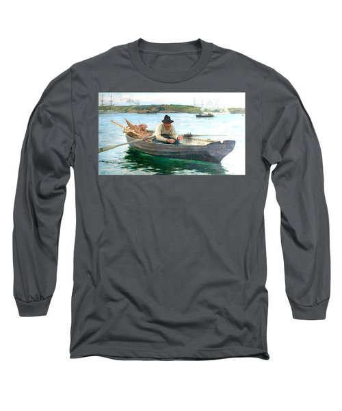 Long Sleeve T-Shirt featuring the painting The Fisherman by Henry Scott Tuke