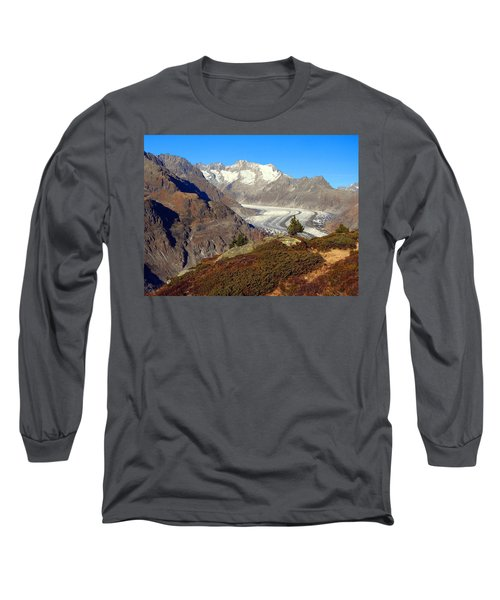 The Large Aletsch Glacier In Switzerland Long Sleeve T-Shirt by Ernst Dittmar