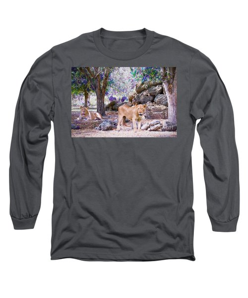 Long Sleeve T-Shirt featuring the painting The Lions by Judy Kay