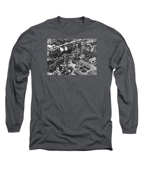 The Moxie Powered Horse Mobile And The Cleaning Robots  Long Sleeve T-Shirt by Richie Montgomery