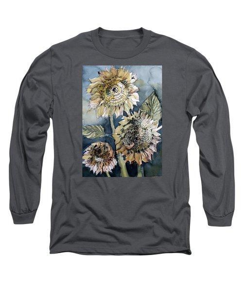 Three Sunflowers Long Sleeve T-Shirt by Mindy Newman