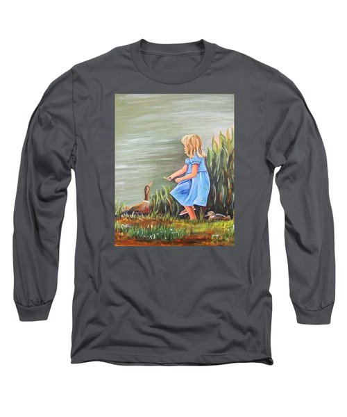 Tori And Her Ducks Long Sleeve T-Shirt by Patricia Piffath