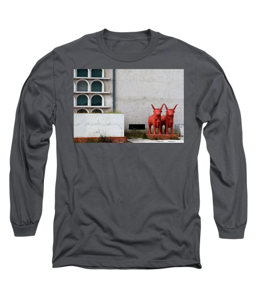 Long Sleeve T-Shirt featuring the photograph Two Orange Bulls by Lorraine Devon Wilke