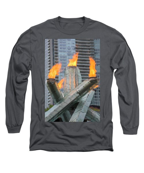 Vancouver Olympic Cauldron Long Sleeve T-Shirt by Ross G Strachan