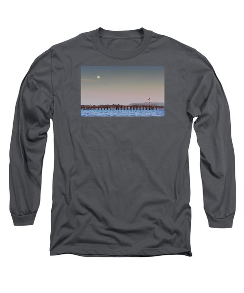 Ventura Pier Moonrise Long Sleeve T-Shirt by Joe  Palermo