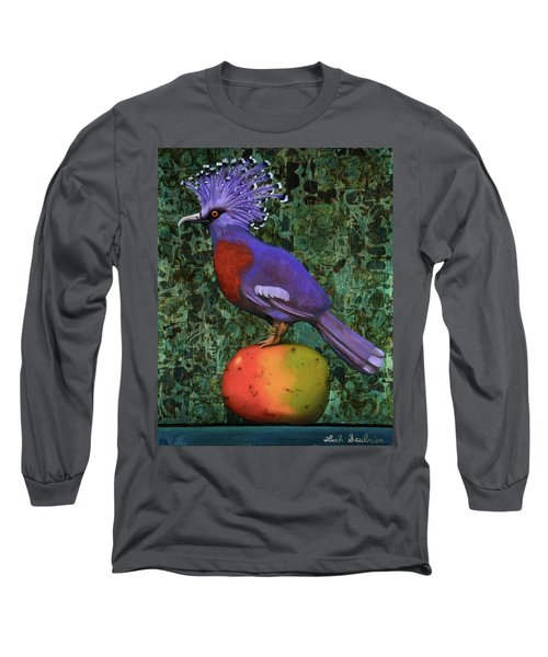 Long Sleeve T-Shirt featuring the painting Victoria Crowned Pigeon On A Mango by Leah Saulnier The Painting Maniac