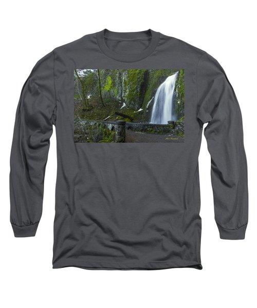 Wahkeena Falls Bridge Signed Long Sleeve T-Shirt