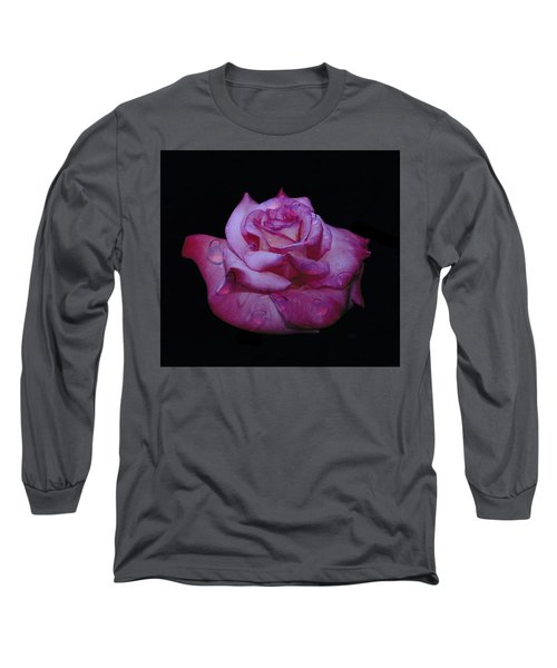Watered Red Rose Long Sleeve T-Shirt