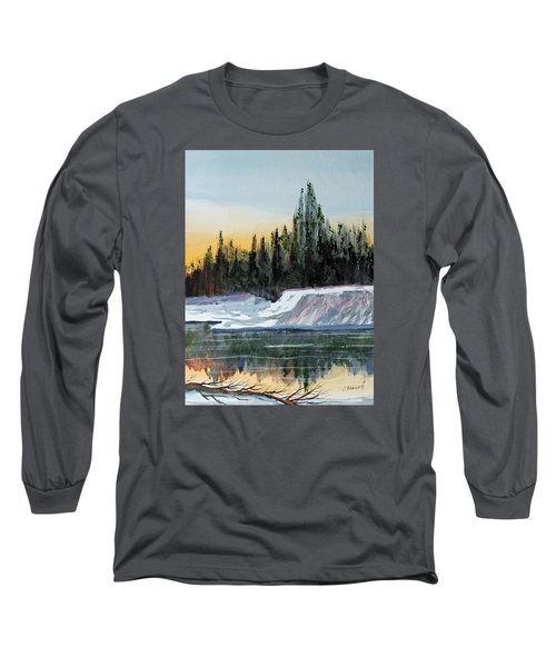 Long Sleeve T-Shirt featuring the painting Winter Reflections by Jack G  Brauer