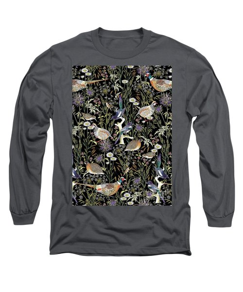 Woodland Edge Birds Long Sleeve T-Shirt by Jacqueline Colley