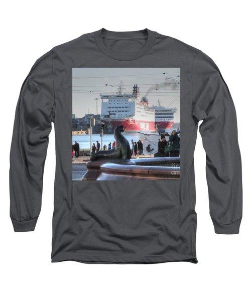 Long Sleeve T-Shirt featuring the pyrography Yury Bashkin Helsinki Finland by Yury Bashkin