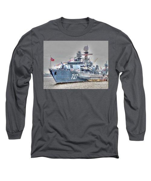 Long Sleeve T-Shirt featuring the pyrography Yury Bashkin War Ship by Yury Bashkin