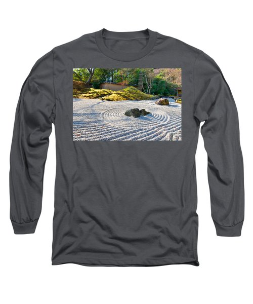 Zen Garden At A Sunny Morning Long Sleeve T-Shirt by Ulrich Schade