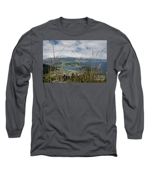 Queenstown New Zealand. Remarkable Ranges And Lake Wakatipu. Long Sleeve T-Shirt by Yurix Sardinelly