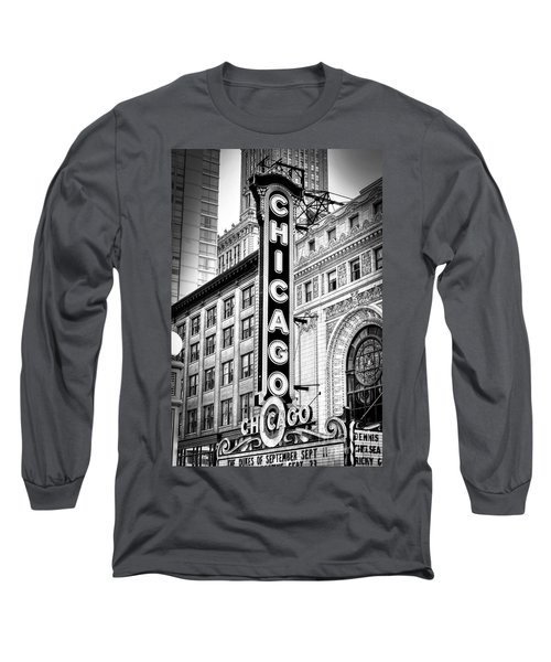 1077 Chicago Theater Black And White Long Sleeve T-Shirt