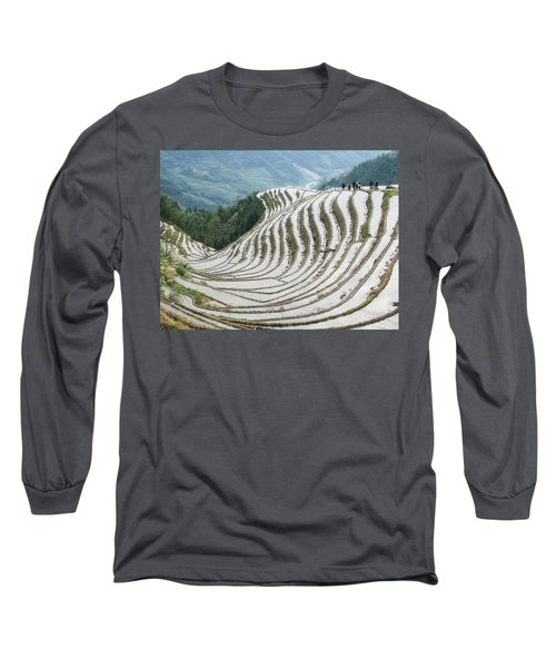 Terrace Fields Scenery In Spring Long Sleeve T-Shirt