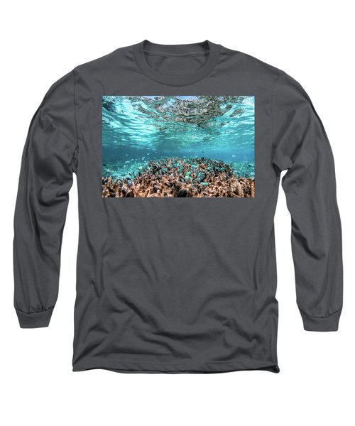 Underwater Coral Reef And Fish In Indian Ocean, Maldives. Long Sleeve T-Shirt