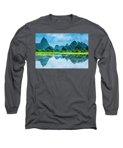Karst Rural Scenery In Raining Long Sleeve T-Shirt